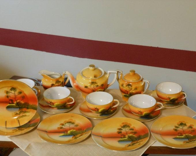 Miniature Porcelain Hand Painted 20-Piece Tea Set