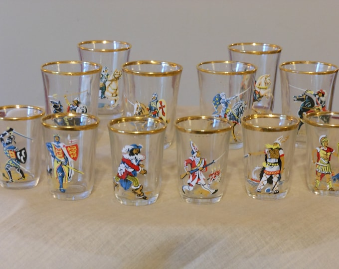 A Dozen Hand Painted English Warrior Shot Glasses