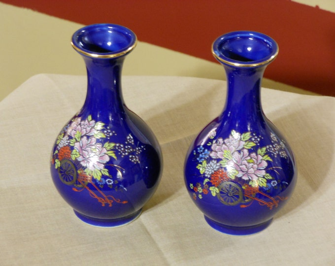 A Pair of Matching Kutani Japan Blue Bud Vases with Floral Design