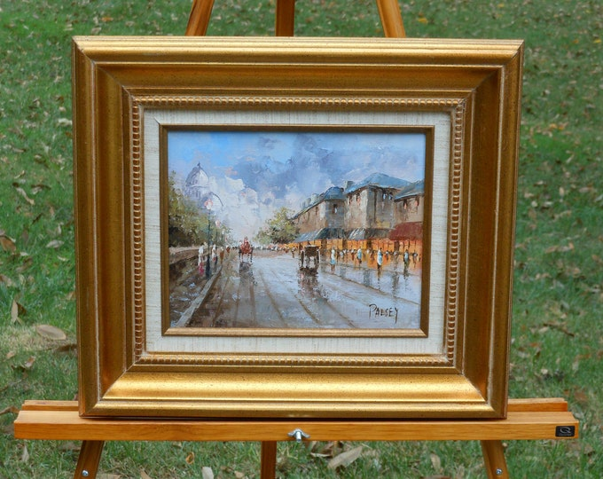 Oil on Canvas Painting by Palsey, Paris Street Scene