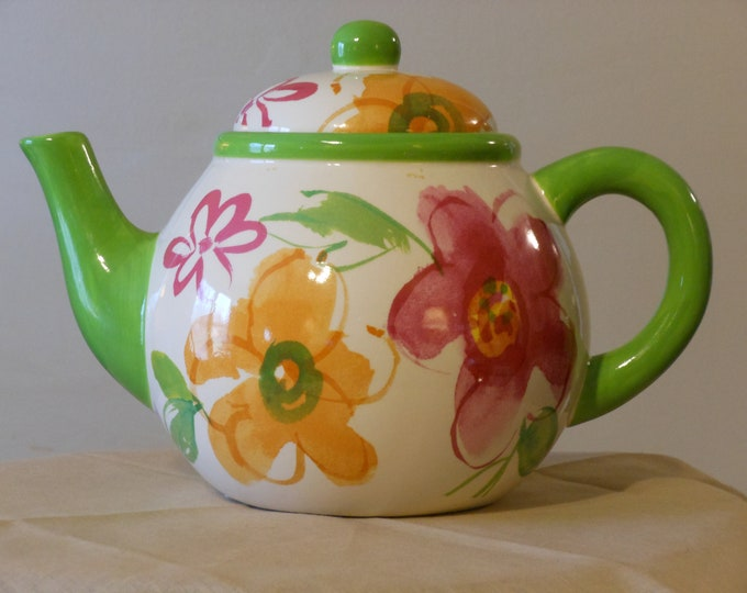Brightly-Colored Floral Tea Pot