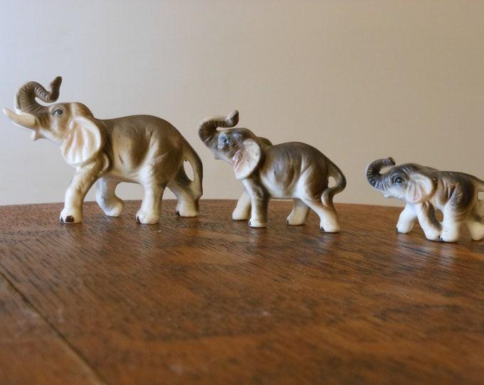 Ceramic Miniature Vintage Elephant Family
