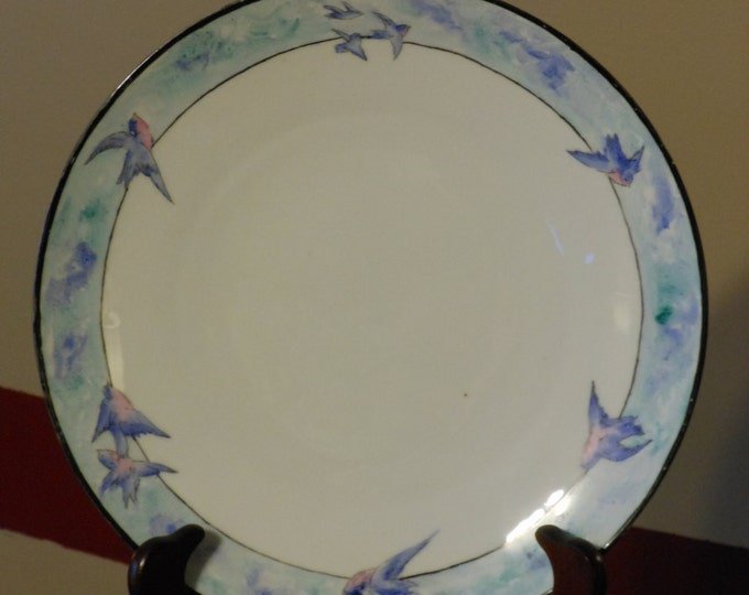 Antique P.T. Bavaria Hand Painted, Signed and Dated German Porcelain Blue Bird Plate