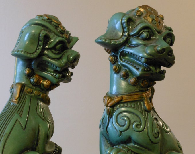 Eleven-Inch Resin Vintage Foo Dogs