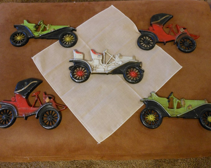 Group of Five Vintage Antique Car Hand Cast Wall Plaques