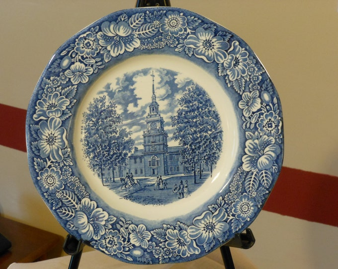 Staffordshire Ironstone Transferware Liberty Blue Independence Hall Plate