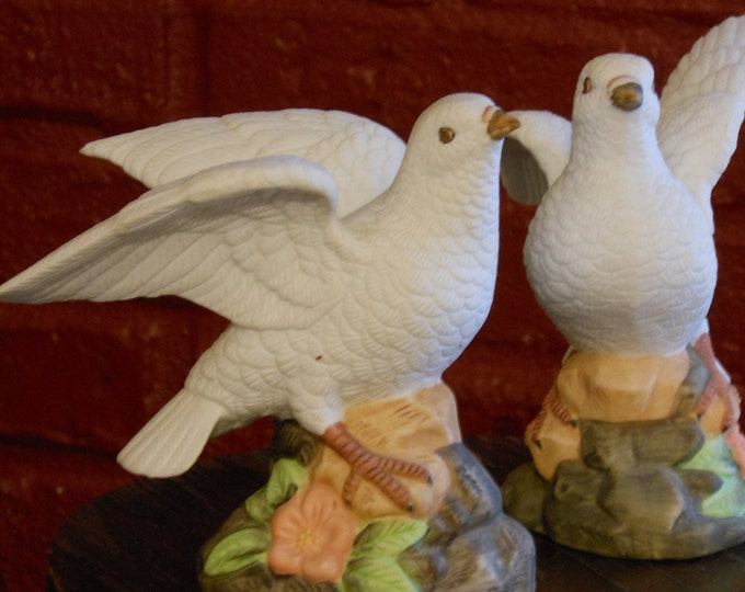 A Pair of Porcelain Mexican Dove Figurines