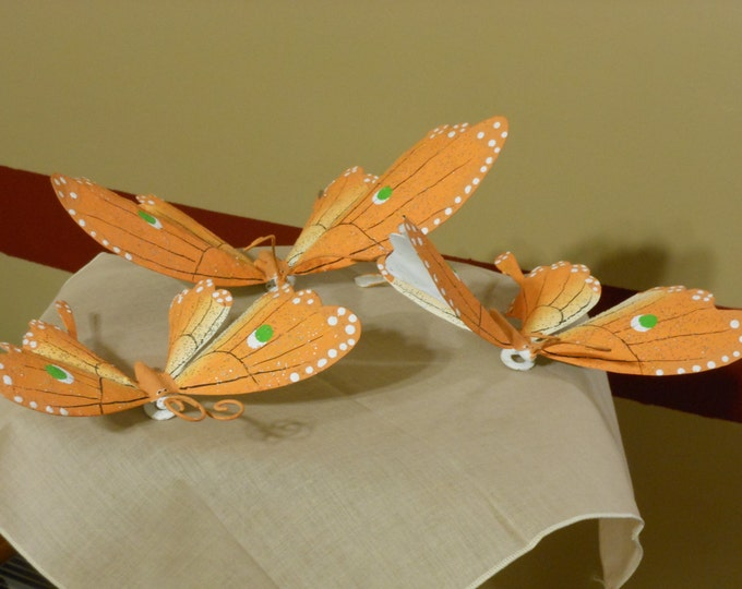 Orange and White Sparkly Butterflies