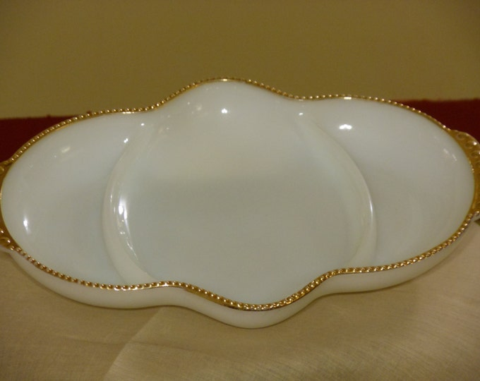 Fire King Oven Ware Sectioned Dish Trimmed in Gold Bead