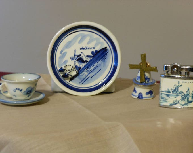 Four Small Delft Hand Painted Pieces