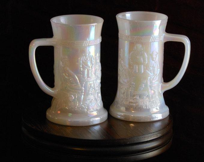 Federal Glass Lustreware Vintage Glass Steins