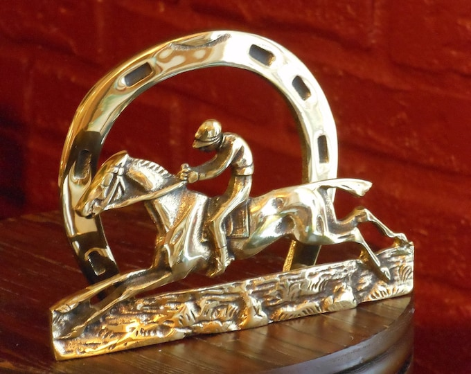 Brass Horse & Jockey Letter Holder