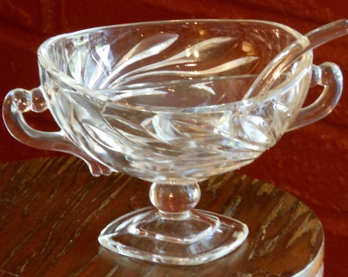 Divided Etched Glass Condiment Bowl with Spoon