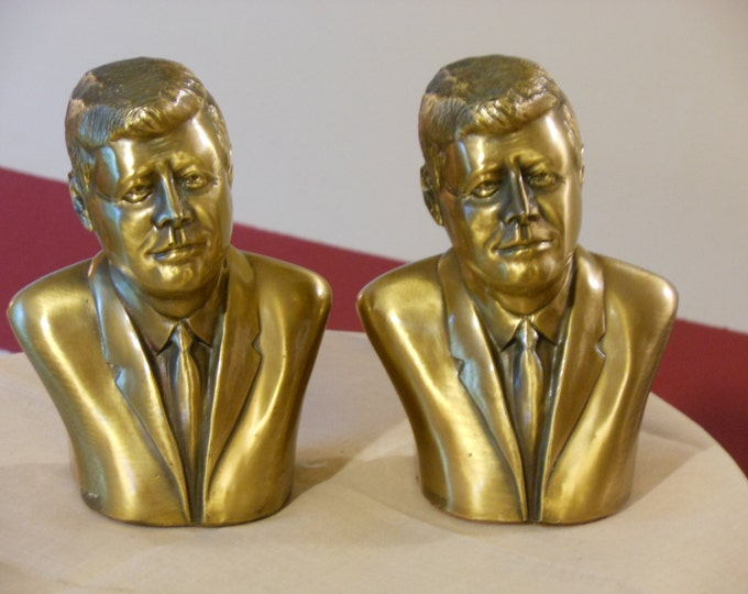 Solid Brass John F. Kennedy Bookends, 1962