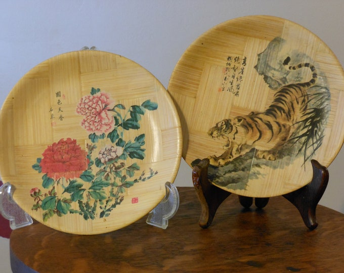Two Vintage Taiwan, Republic of China, Bamboo Plates