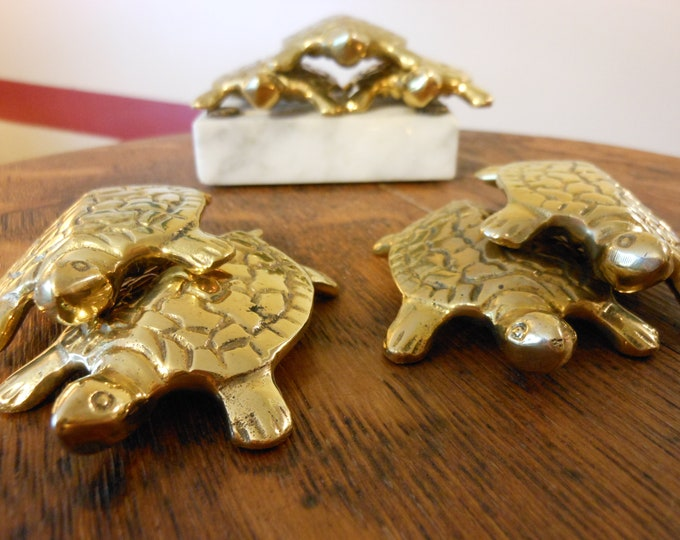 Seven Solid Brass Turtles