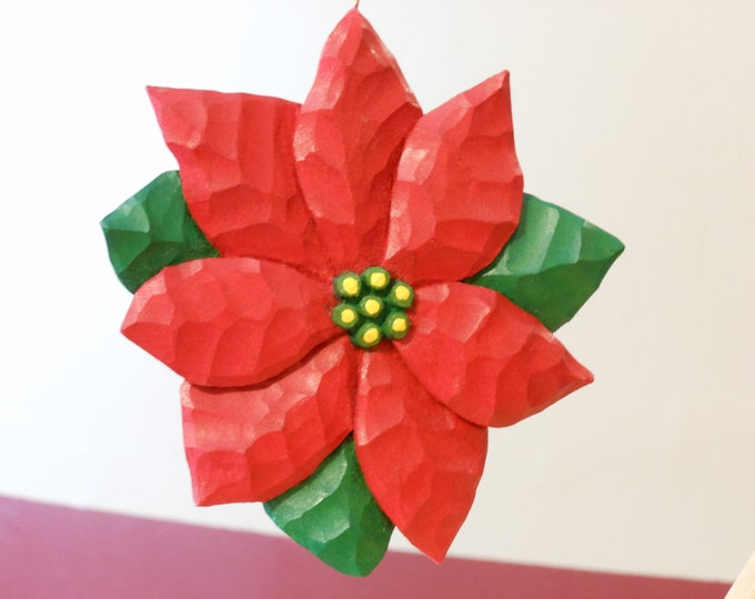 Wooden Poinsettia Bloom Christmas Ornament