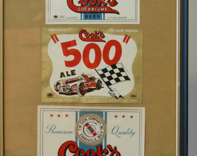 """Vintage Framed Cook's Goldblume Beer and Cook's """"500"""" Ale Labels"""