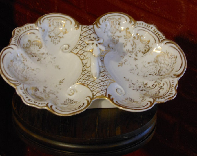 Vintage Scalloped Gilded Handled Two-Sided Relish Tray