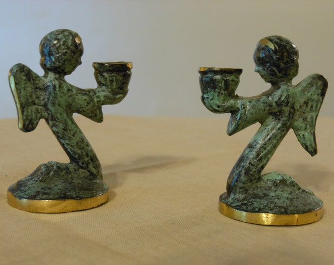 Two Small  Pewter/Brass Angel Candle Holders