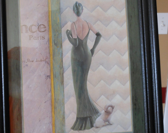 Eugene Print of Fashionable French Woman and Her Little Dog