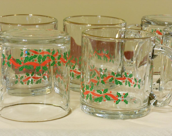 Clear Large Christmas Mugs with Holly Border