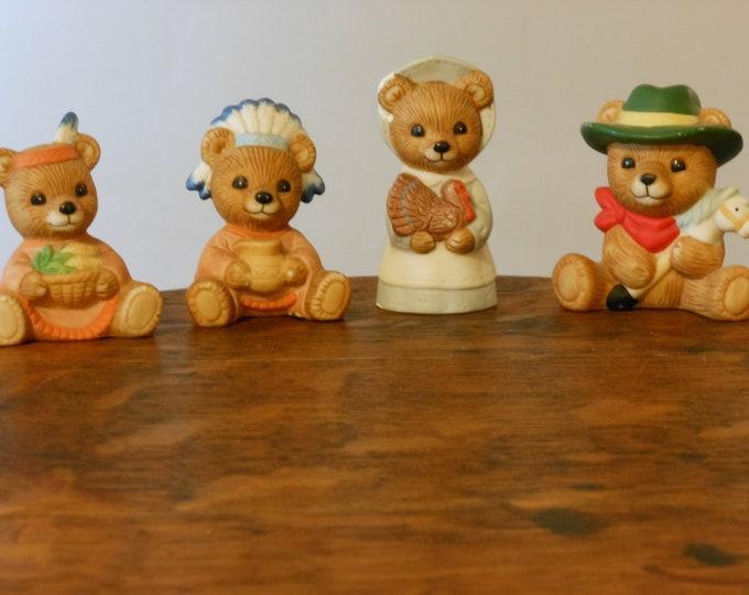 Homco Vintage Cowboy & Indian Ceramic Bears