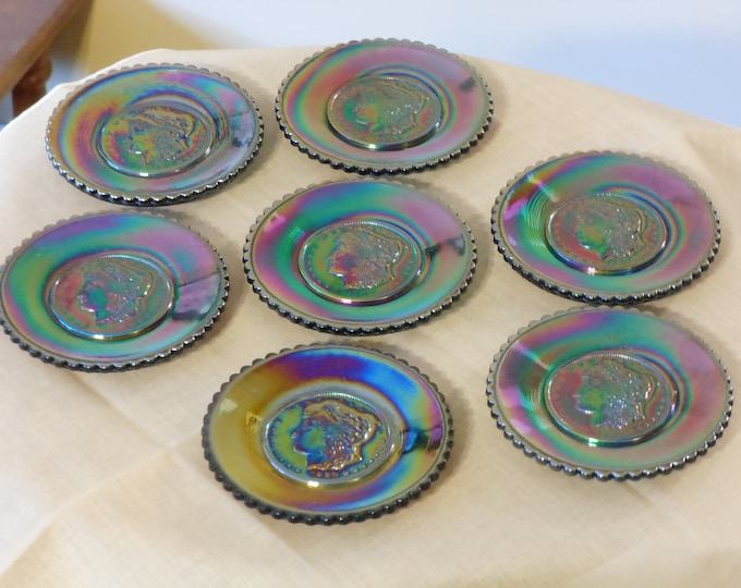 Seven Purple Joseph St. Clair Morgan Coin Carnival Glass Plates