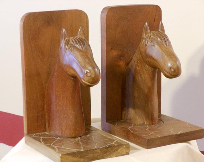 Dominican Republic Wooden Horse Head Bookends