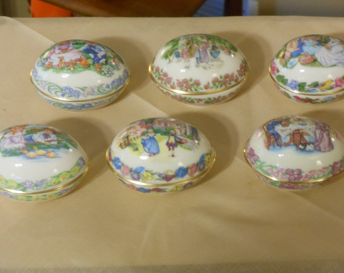 Six Lenox Vintage Porcelain Two-Piece Hand Painted Limited Edition Easter Eggs