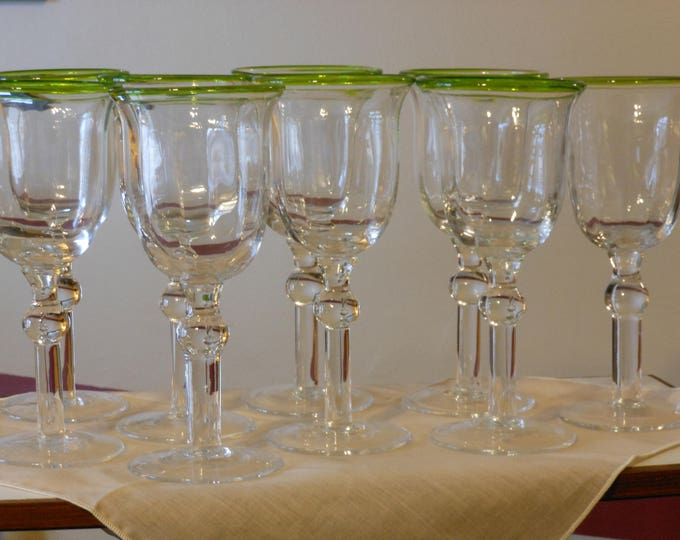 Collection of Nine Beaded, Green-Rimmed, Long-Stemmed Wine Glasses