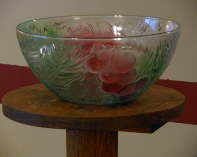 Large Vintage Grape and Green Frosted Fruit Bowl (Kig Indonesia)
