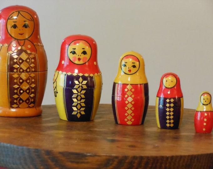 Set of Five Beriozka Nesting Dolls
