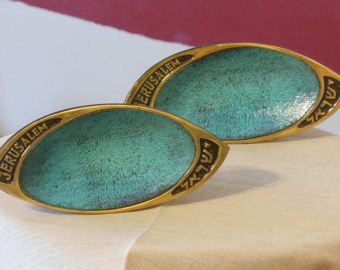 Two Brass and Blue Enamel Trinket Trays