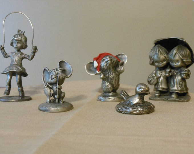 "Five Miniature Pewter Hallmark ""Little Gallery"" & Kelly Waters Figurines"