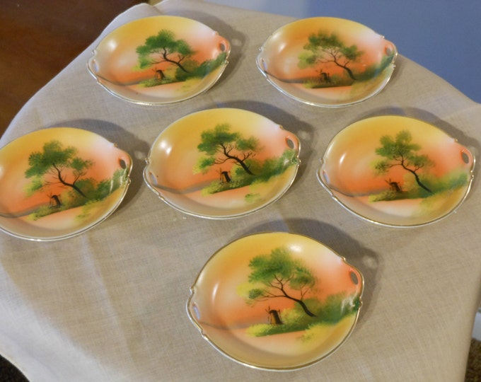 Six Hand Painted Noritake Morimura Two-Handled Butter Pats