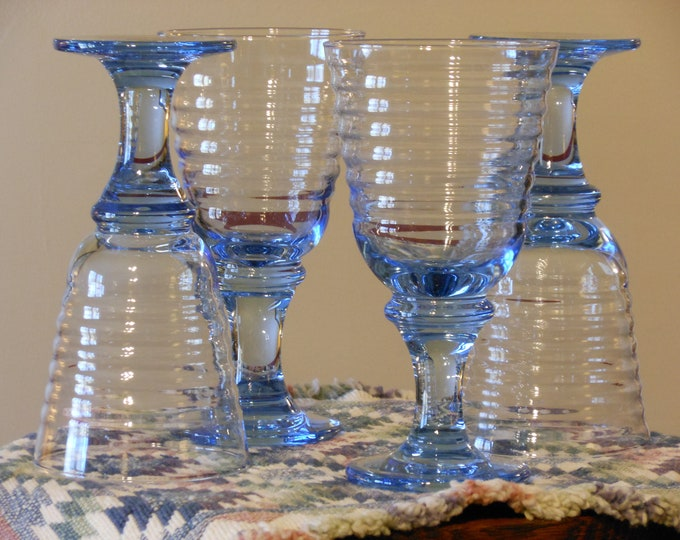 Light Blue Stemmed Glass Tumblers