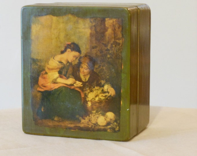 Vintage Wooden Pin Box