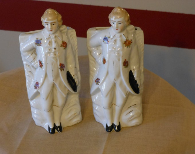 A Pair of Matching Colonial Gentlemen Wall Pockets
