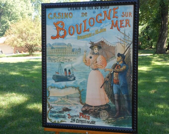 Casino de Boulogne Sur Mer Framed French Travel Poster