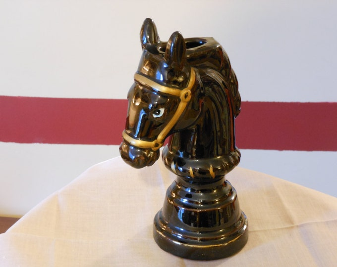 Vintage Ceramic Black Knight Horse