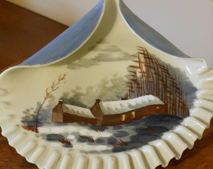 Hand Crafted Shell Plate w/ Hand Painted Country Scene