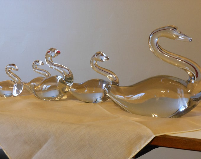Set of Five Solid Glass Swans