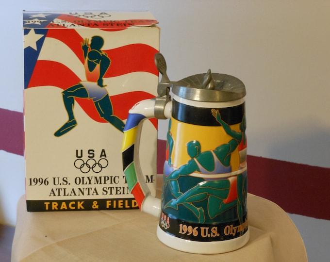 Atlanta U.S. Olympic Team Centennial 1996 Track & Field Anheuser-Busch Ceramic Stein