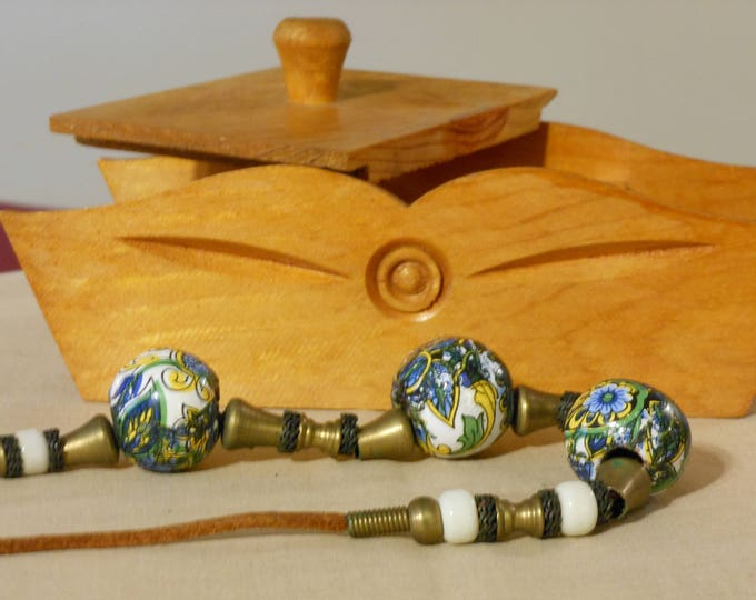 Greek Cloisonne Bead Necklace and Handcrafted Wooden Box