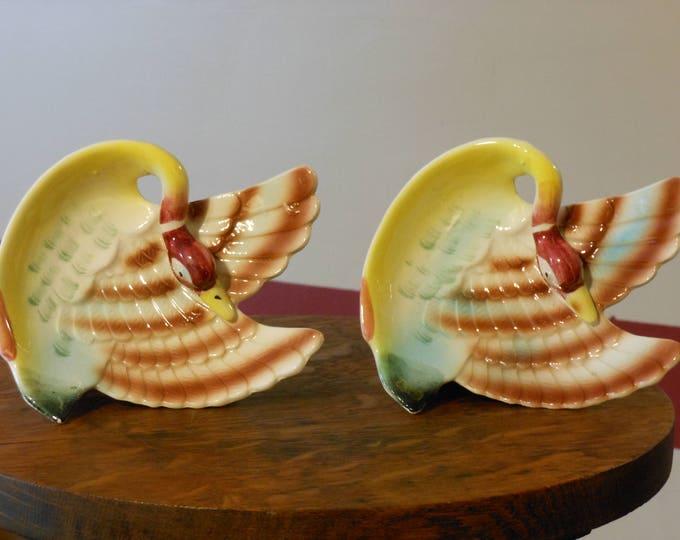 Hand Painted Oriental Pheasant Trinket Trays