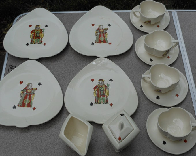 15 Pieces of Vintage American Limoges China: Casino Pattern