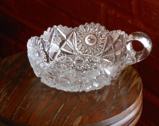 ABP Cut Crystal Vintage One-Handle Olive Dish
