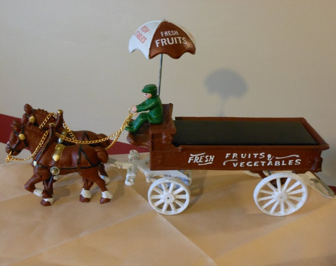 Cast Iron Fruits and Vegetables Wagon with Horses and Driver
