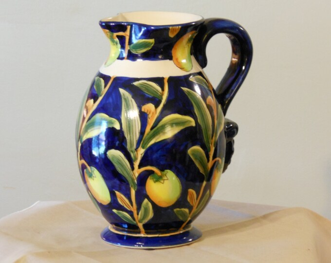 Dark Blue Asian Floral Pitcher Vase